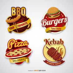 Set of 4 logo badges: Burger badge, kebab Logo, Pizza delivery seal and BBQ label. Under Commons Attribution License. Food Logo Design, Food Truck Design, Logo Food, Ad Design, Design Ideas, Pizza Delivery, Burger, Pizza Kebab, Retro Logos