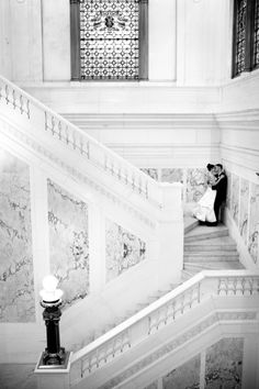 Romantic Baltimore Wedding Portrait- on the original marble steps of the Hotel Monaco, originally the headquarters of the B Railroad.