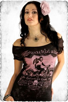 Rockabilly The Switchblades Women's Off Shoulder Tee - Tees