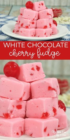 White Chocolate Cherry Fudge recipe with marshmallow cream! This fudge is fluffy and delicious! White Chocolate Cherry Fudge recipe with marshmallow cream! This fudge is fluffy and delicious! Valentine Desserts, Valentine Chocolate, Valentines, Candy Recipes, Sweet Recipes, Dessert Recipes, Homemade Fudge, Homemade Candies, Marshmallow Creme