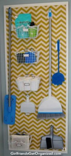 """Organize brooms and mops in the laundry room with a peg board. Love the painted chevron painted over the pegboard along with the """"frame"""". Way to class up boring pegboard! Laundry Room Organization, Organization Hacks, Organizing Tips, Laundry Rooms, Laundry Decor, Laundry Hacks, Organising, Laundry Closet, Small Laundry"""