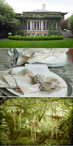 Forest Wedding.  Hang moss from chandeliers/stick balls etc
