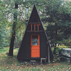 Simple A-Frame Cabin-Shack up in the woods and call it a weekend. A Frame Cabin, A Frame House, Tiny House, Casa Top, Cabins And Cottages, Tiny Cabins, Cabins In The Woods, Little Houses, Play Houses