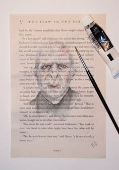 ORIGINAL Watercolor Harry Potter Book Page - Voldemort