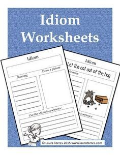 Idiom Worksheets. These idiom worksheets complement any lesson on idioms. There is a blank template for students to write in the idiom of their choice, or you can use the six worksheets with provided idioms and illustrations. You might also like: Idiom Posters Idiom Matching Cards Idiom Task Cards and Worksheets Idioms Power Point Presentation Idiom Worksheets Figurative Language Resources Bundle Clip art by Image Boutique
