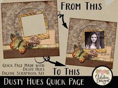 Fall Themed Digital Scrapbook Quick Page  Dusty Hues Ready
