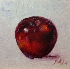 Red Delicious Apple Original Oil Painting by Nina R.Aide Kitchen Fruit Art Small…