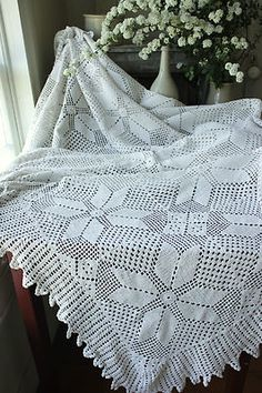 Vintage French old crochet bed cover lace handmade canopy textile warm white ~ | eBay
