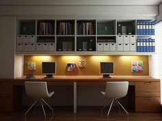 #WindowsMilwaukeeReplacement Study Room Designs. Love the lighting underneath the shelves.