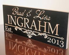 Carved Wooden Signs: Last Name Sign Personalized Marriage Sign  Anniverary Gift Wood Sign Custom Wood Signs Family Name 7x18 IG
