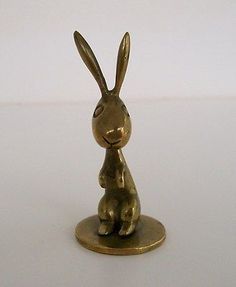 "HAGENAUER 1930's ART DECO SIGNED MADE IN AUSTRIA RABBIT FIGURE SCULPTURE 2"".5 NR - http://art.goshoppins.com/sculpture/hagenauer-1930s-art-deco-signed-made-in-austria-rabbit-figure-sculpture-2-5-nr/"