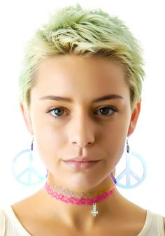 Suzywan Deluxe Peace and Love Iridescent Earrings