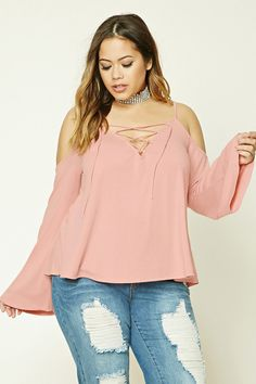 Plus Size Lace-Up Top