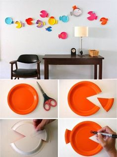 Simply make fish from paper plates - Easy Craft Ideas Art Corner, Kids Corner, Diy For Kids, Crafts For Kids, Easy Diy Crafts, Diy Wall Art, Preschool Crafts, Paper Plates, Creations