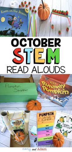 October Read Aloud STEM Lessons: Includes 4 STEM Challenges and 1 Pumpkin Flip Book to accompany Stellaluna by Janell Cannon, The Biggest Pumpkin Ever by Steven Kroll, From Seed to Pumpkin by Wendy Pfeffer, Room on the Broom by Julia Donaldson, and The Runaway Pumpkin by Kevin Lewis. Teach growth mindset, STEM, Pumpkin Life Cycle, and more with this amazing Fall Read Aloud Activity Bundle! #STEM #STEAM #growthmindset #pumpkins #pumpkinactivities #fallactivities #pumpkinlifecycle Halloween Activities, Stem Activities, Preschool Halloween, Pumpkin Life Cycle, Kindergarten Stem, Room On The Broom, Biggest Pumpkin, Stem Steam, Stem Learning