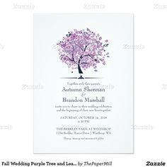 Fall Wedding Purple Tree and Leaves 5x7 Paper Invitation Card