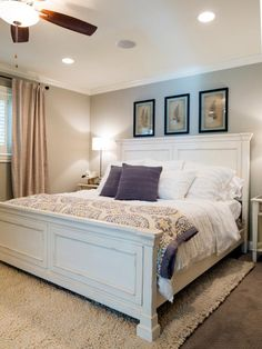 HGTV loves this master bedroom, which blends traditional and modern furnishings, seen on Fixer Upper Season 2.