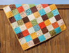 Red Blue Brown Baby Boy Lollipop Quilt Yellow by JennyMsQuilts, $125.00