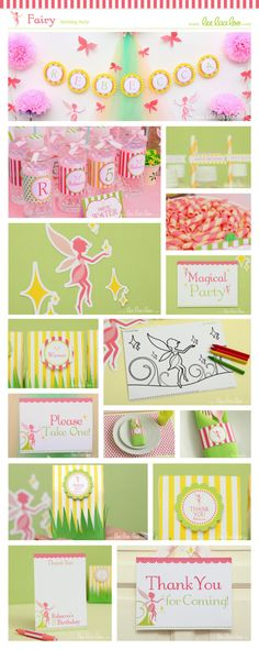 Fairy Birthday Party Package Collection Set Mega Personalized Printable // Fairy - B15Pz2. $35.00, via Etsy.