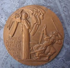 Antique Religious Art Medal French Art Deco Martyrdom Of Sainte Martine Signed Delannoy