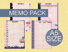 Printable Memo page for FIlofax A5 size by lucyWONDERLAND on Etsy, €6.00