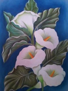 PINTURA alcatraces.  :-) TEX One Stroke Painting, Painting Tips, Fabric Painting, Painting Techniques, Art Floral, Fabric Paint Designs, China Painting, Decoupage Paper, Calla Lily