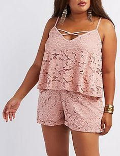 Plus Size Lace Tiered Romper #CharlotteRussePlus