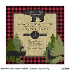 Bear Woodland Forest Lumberjack Plaid Baby Shower Card