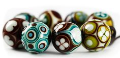 MangoBeads - olive, turquoise and brown.