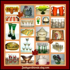 Vintage Holiday Table & Decor   Tons of New Inventory!  Spend $25 get an EXTRA 20% Off w/Code JYBVIP20 #holidays #fall #thanksgiving #holidaytable #laughlin #gold #holidaydecor #vintage #cottage #mcm #kitsch #retro #junkyardblonde