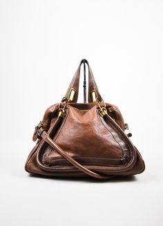 """Chloe Brown Gold Toned Leather """"Paraty"""" Hobo Bag"""