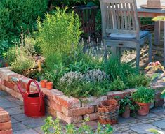 What a beautiful and stylish raised garden bed using old bricks. A simple DIY garden!