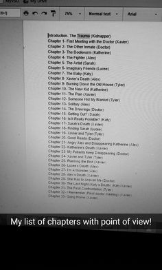 The list of chapters that ended up being twice as long once I actually wrote the story.