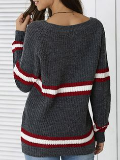 Hit Color Pullover Striped Sweater