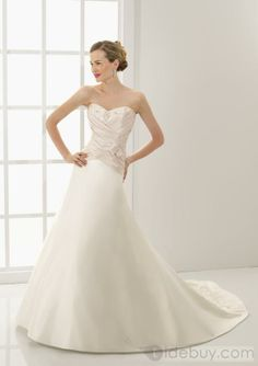 A Line Princess Sweetheart Chapel Train Satin wedding dress for brides 2010 style(WDE0081), #Wedding Apparel  #Wedding Dresses  #MarketPricde $225.00  But now Only #$132.99