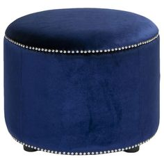 Blue Velvet Ottoman.