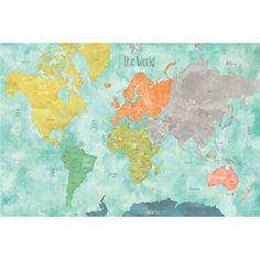 Aquarelle World Map Decal - Peel and Stick Map Decal
