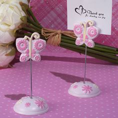 Pink Butterfly Place Card Holder