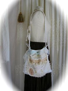 Shabby Cotton Bag handmade white fabric purse by TatteredDelicates