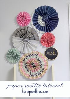Paper rosettes are such an easy and high-impact craft project! All you need is scrapbook paper and hot glue! Step Choose your scrapbook paper (I went with… Diy And Crafts, Arts And Crafts, Paper Crafts, Recycle Crafts, Craft Tutorials, Craft Projects, Craft Ideas, Diy Ideas, Paper Rosettes