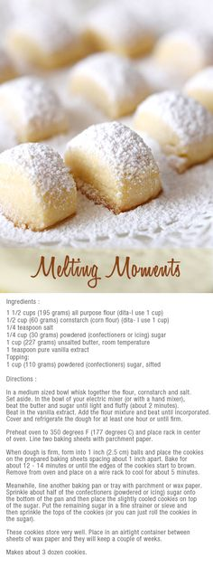 Home / Dessert Recipesmelting moments bitesMay moments bites - to make with the kids:melting moments bites - to make with the kids: Cookie Desserts, Cookie Recipes, Dessert Recipes, Cookie Ideas, Fall Desserts, Holiday Baking, Christmas Baking, Christmas Cookies, Melting Moments Cookies