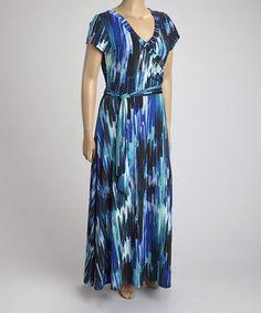 Another great find on #zulily! Blue & Black Abstract Tie-Waist Maxi Dress - Plus by Ella Samani #zulilyfinds