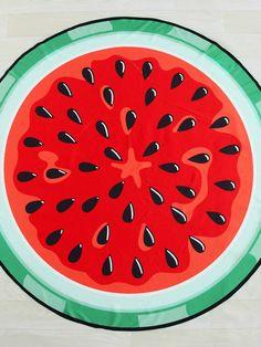 Watermelon Print Round Beach Blanket