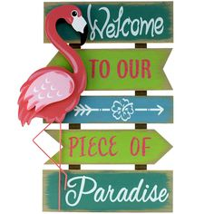 Flamingo Welcome Sign 24-in