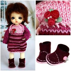 Hey, I found this really awesome Etsy listing at https://www.etsy.com/listing/248997320/knitted-outfit-roses-burgundy-with-shoes