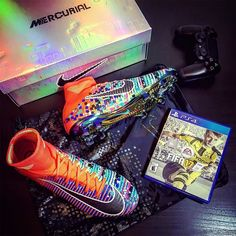 #footyfeature from @thebeautifulboots. Great combo! The @nikefootball Mercurial X EA Sports together with the game itself; FIFA 17 . . . #footydotcom #fcfc #footy #footballboot #soccercleats #football #soccer #futbol #futbolsport #cleatstagram #totalsocceroffical #fussball #bestoffootball #rldesignz #fifa17 #easports #easportsfifa #videogaming #soccergame #footballgame #fifa #nikefootball #nikesoccer #mercurial #superfly #16bit #footballboots