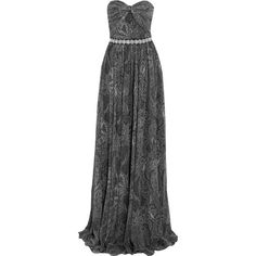 Michael Kors Collection Paisley-print silk-chiffon gown ($2,304) ❤ liked on Polyvore featuring dresses, gowns, maxi dress, grey, ruched maxi dress, grey maxi dress, michael kors dresses, maxi dresses and evening maxi dresses
