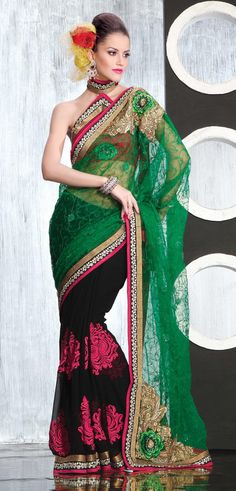 Green Net Saree 18979 With Unstitched Blouse
