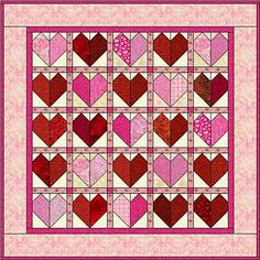 Free+Quilting+Patterns | Easy Quilt Patterns - Easy Scrappy Hearts Quilt Pattern