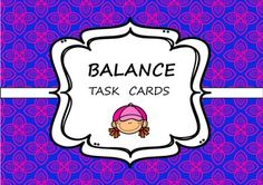 Balance / Stability task cards for classroom PE programme. Physical Education Lessons, Pe Lessons, Teaching Tools, Task Cards, Stability, Physics, Classroom, Symbols, Sport